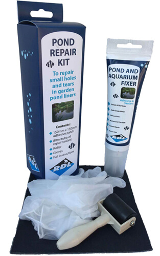 Pond liner repair kit includes sealant, pond liner adhesive patch, roller and gloves.