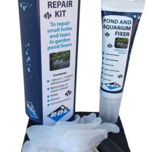 Pond liner repair kit includes sealant, pond liner adhesive patch, roller and gloves