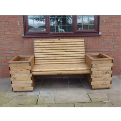 Garden planter bench made from Redwood