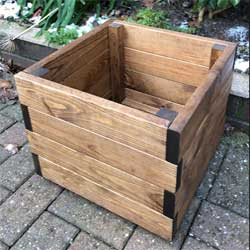 Small square planter made from Redwood