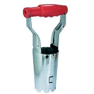 Garden hand held bulb planter with spring grip